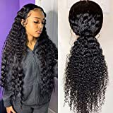 Maxine Hair Glueless Wigs Curly Wave Lace Front Wigs Long Deep Wave Wigs for Black Women Unprocessed Virgin Human Hair Lace Frontal Wigs with Baby Hair 4x4 Lace Wigs (28 Inch,150% Density)