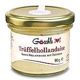 Die Trüffelmanufaktur - Trüffel Hollandaise Soße, Feinkost Trüffelcreme mit 10% echtem schwarzem Trüffel, Trüffelhollandaise Sauce für Spargel, Gemüse, Fisch & Fleisch, weiße Trüffelsoße im 90 g Glas