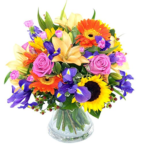 Clare Florist Fantastic Summer Memories Fresh Flower Bouquet - Beautiful Fresh Lilies, Roses and Sunflowers Hand Arranged by Florists