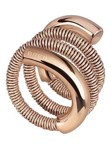 Breil Gioiello Collezione New Snake Steel, Anello da Donna in Acciaio COLORATO Colore Rose Misura 17CM - TJ2871