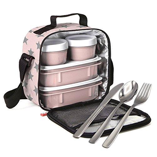 PracticFood - Kit Urban Food Negro Cubiertos - Bolsa térmica Porta Alimentos, Rosa