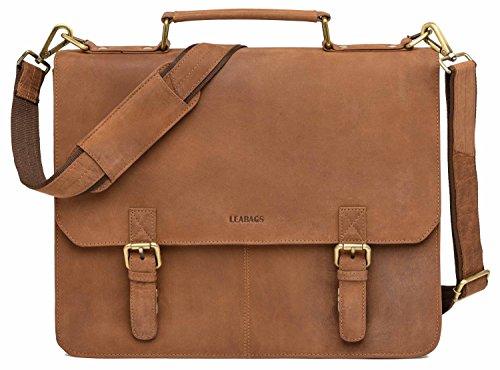LEABAGS Gainsville Aktentasche Laptoptasche 15 Zoll Ledertasche im Vintage Look, (LxBxH): ca. 29 x 11 x 30 cm - Braun