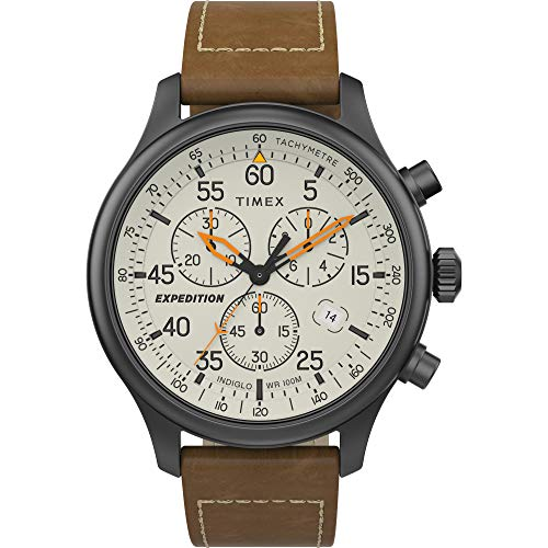 Timex Men's TW2T73100 Expedition Field Chronograph Brown/Cream Leather Strap Watch