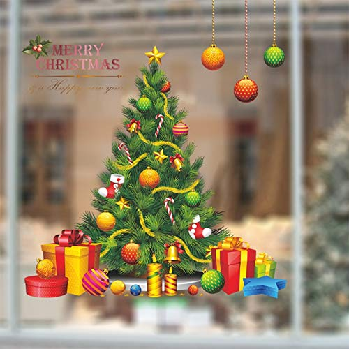 Christmas Tree Vinyl Wall Stickers New Year Glass Window Home Decor Art Decals 3D Wallpaper Decorations For Home Mural Poster