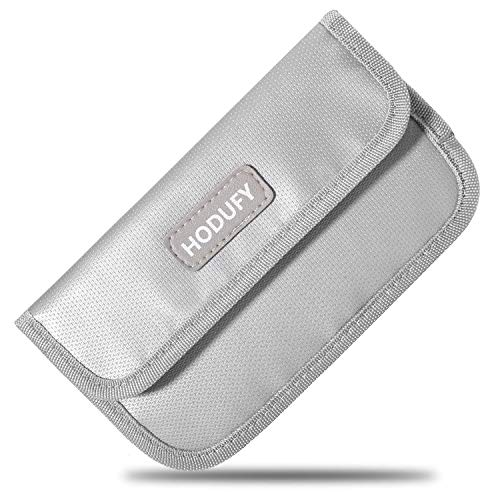 Hodufy Fireproof Faraday Bag, RFID Signal Blocking Bag Shielding Pouch Money Wallet Case for Cell Phone Privacy Protection and Car Key FOB (Gray)