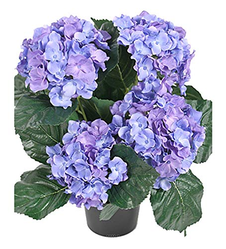 Artificielles.com - Hortensia en pot artificiel lesté H 40 cm 5 superbes têtes Bleu royal - couleur: Bleu royal