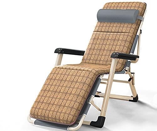 LVLUOKJ Tumbona Silla de Gravedad Cero, sillón Ajustable portátil Relax Tumbona de jardín, Tumbona Plegable reclinable y Ligera (Color : Rattan Mat)
