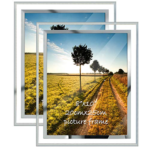 8x10 Picture Frame Glass Frames for 8 by 10 Pictures, Tabletop Display Vertically or Horizontally, Set of 2