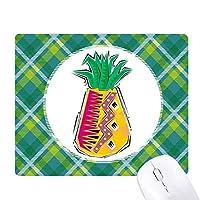 食品のパイナップルmexicon文化要素のイラスト 緑の格子のピクセルゴムのマウスパッド