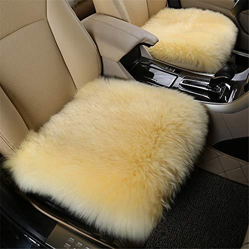 EXQUILEG Wolle Schaffell Auto Sofakissen Abdeckungen Gemütliches Warme Sitzkissen-45X45cm (Hellgelb)