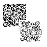 Crafter's Workshop Stencil 2 Pack, Reusable Stenciling Templates for Art Journaling, Mixed Media, and Scrapbooking - TCW156 Cosmic Swirl and TCW424 Mod Spiral, 12 inch x 12 inch