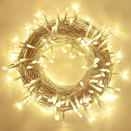 95ft 240LED Christmas Lights, 8 Modes Waterproof Clear Wire Xmas String Lights Indoor/Outdoor, Decorative Lights for Room, Patio, Christmas Tree Decorations (Warm White)