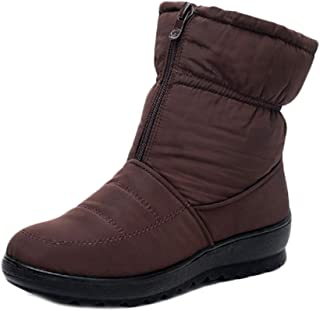 Inlefen Women's Winter Snow Short Boots Non-Slip Oxford Sole with Front Zipper