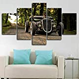 Canvas prints artwork 5 panels Hot Rod Classic Old Car Wall Panel Wallpaper HD Print Bedroom Kitchen Craft Decor Photo Art Wall Background Gift