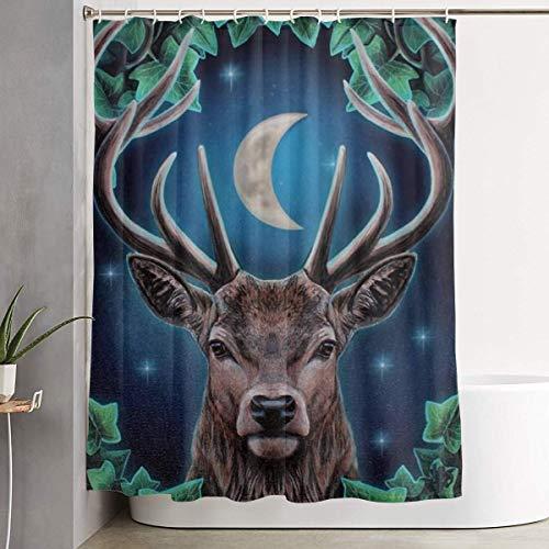 N / A Badezimmer Dekor,Badezimmer Gardinen,Gardinen Dusche,Wasserwiderstandsfähige Badvorhänge,Badewanne Duschvorhänge,Deer Wildlife Moonlight Zauberwald 152X183CM
