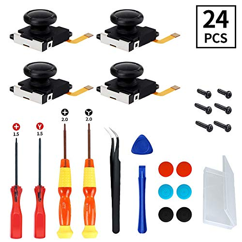 4-Pack Joy-Con Joystick Replacement Kit for Nintendo Switch Controller, 3D Analog Thumb Stick Replacement Parts, 24 In 1 NS Controller Repair Tool Kit