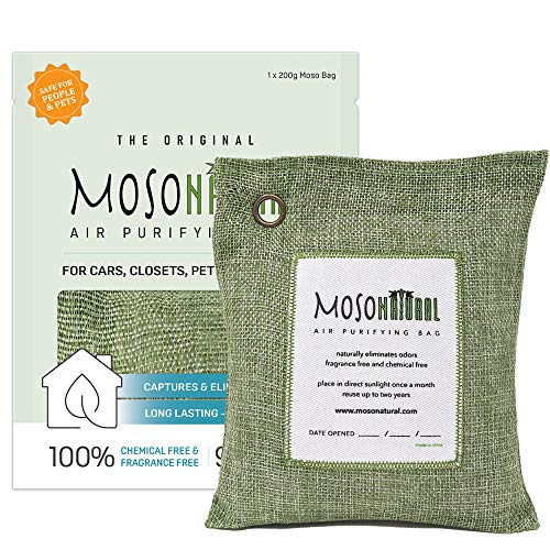 Buy Discount MOSO NATURAL Air Purifying Bag 200g. Odor Eliminator, Odor Absorber for Cars and Closet...