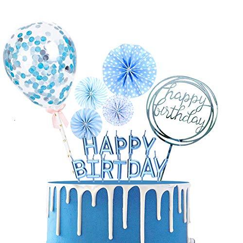 BOYATONG Cake Topper Happy Birthday,Tortendeko Geburtstag Junge,Geburtstagstorte Dekoration mit Kerzen Konfetti Luftballon und Papierfächer für Jungen Mädchen