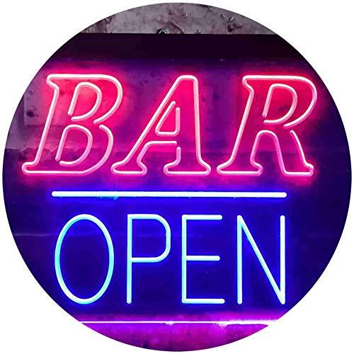 ADV PRO Bar Open Home Décor Dual Color LED Enseigne Lumineuse Neon Sign Rouge et Bleu 300 x 210mm st6s32-i3349-rb