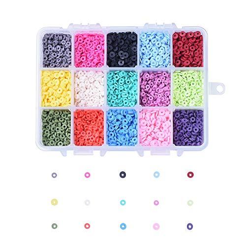 PandaHall 5700~6000pcs 4mm Cuentas espaciadoras de arcilla polimérica Cuentas espaciadoras Heishi hechas a mano de 15 colores para la fabricación de joyas