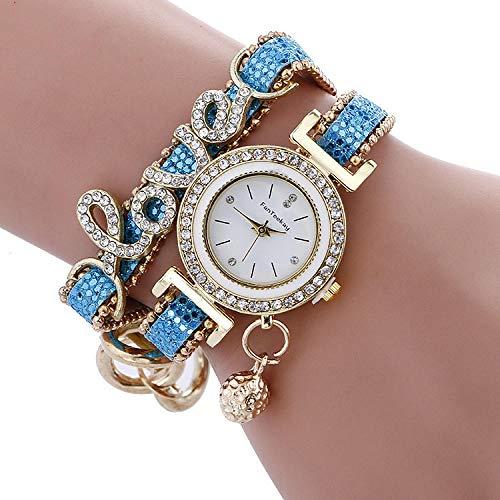 SANDA Reloj Hombre,Reloj de Pulsera de aleación de Diamantes Reloj de Cuarzo para Mujer con Superficie de uñas de Bola Colgante de Amor-Lago Azul