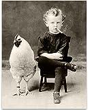 Bizarre Strange Weird Vintage Boy Smoking Cigarette with Quirky Giant Chicken Poster - 11x14 Unframed Vintage Print - Perfect Oddities, Curiosities Home Bathroom Decor Gift Under $15
