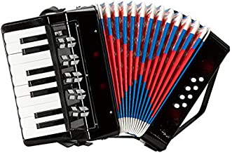 17-Key 8 Bass Kids Accordion Children's Mini Musical Instrument Easy to Learn Music Black - for Students Beginners Childern Amateurs, Christmas Gift