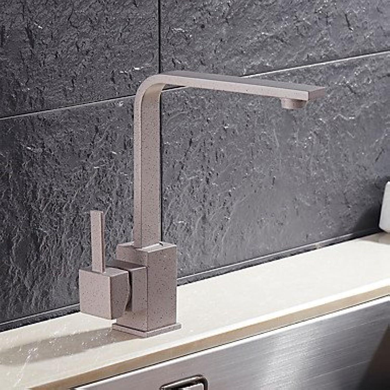 Messing Quarz Stein einzigen Handgriff Ein Loch drehbaren Küchenspüle Wasserhahn - grau