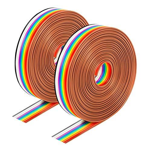 Hauyue 2Pcs 10Pin Cables de Cinta Plana Cable de Puente de Cinta,...