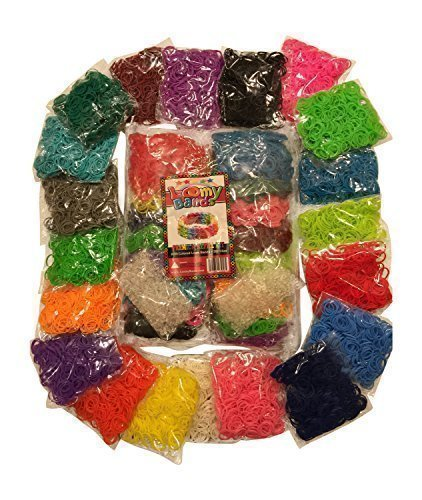 Playz Loomy Bands 8500pc Premium Rainbow Colored Loom Bands Refill Kit - 20 Beautiful Colors w/ 500 S Clips