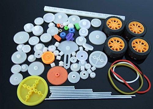 Flormoon Gear Wheel Worm Gear Spur Gear 78 Type Plastic Crown Gear with 4 Tires