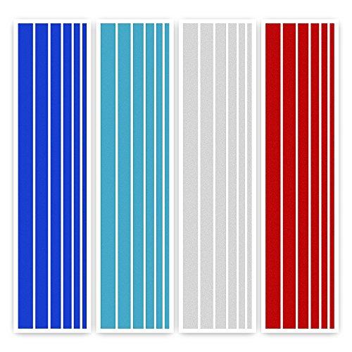 ECENCE Adhesivos Parrilla Delantera con Reflectantes Juego de 24 Pegatinas para radiador de Coche Set de 4 Colores (Azul Oscuro, Blanco, Rojo y Azul Claro) 13010101