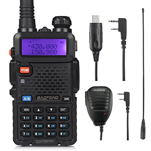 BAOFENG UV-5RTP Triple-Power 8/4/1 W Double Bande Radio VHF/UHF Talkie-walkie (UV-5RTP avec câble de Programmation, Micro)