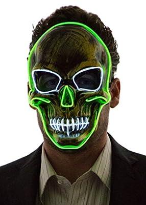 NEON NIGHTLIFE Light Up Skull Mask, Scary Skeleton Death Mask, Halloween LED Grim Reaper Costume, Green & White