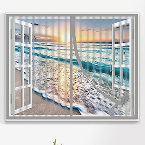 Fliegengitter Fenster 140x150cm Einfach Montieren Ohne Bohren Magnet Fliegenvorhang Magnetische Adsorption für Windows/Wohnzimmer, Grau A