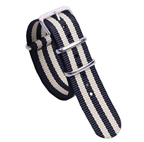 18 millimetri nero beige classico elegante nylon orologi stile cinghie bande/sostituzioni per gli uomini