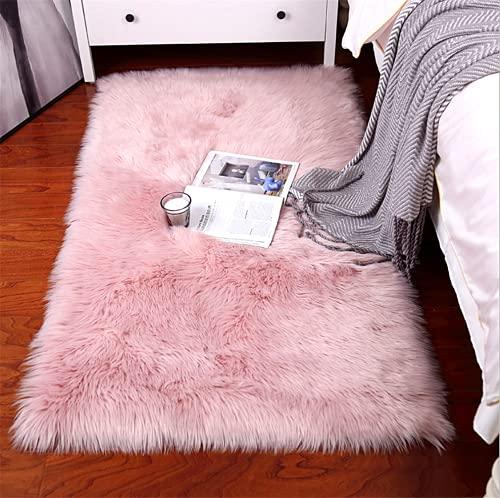 linyingdian Alfombra de Lana Artificial Suave de Lujo Antideslizante, Manta de Lana de Piel Artificial, Utilizada en la Sala de Estar, el Dormitorio, el cojín del sofá del baño (Rosado, 60x90cm)