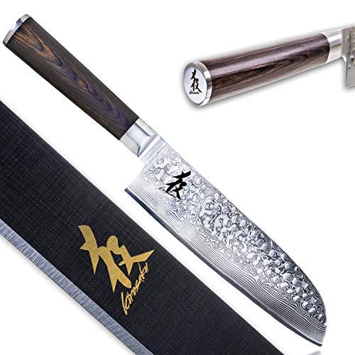 Kirosaku Premium Santoku Messer 18cm - Enorm scharfes Santoku Kochmesser aus hochwertigen Damaszener Stahl - Damastmesser Küchenmesser für EIN fantastisches Schnitt Erlebnis
