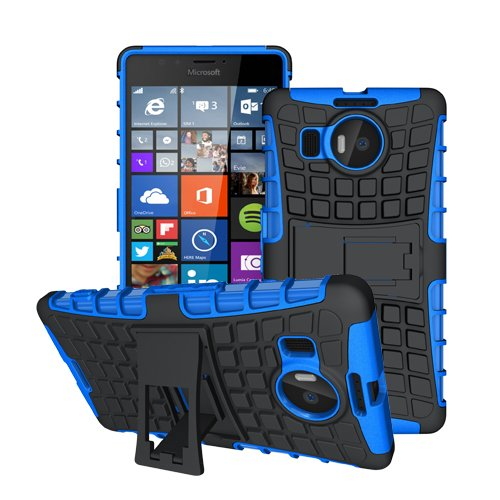 betterfon Microsoft Lumia 950 XL Blau Outdoor Hybrid Hülle Panzer Tasche Cover Silikon Handytasche Hülle SCHUTZ Schutzhülle Bumper +Gratis Bildschirmschutzfolie