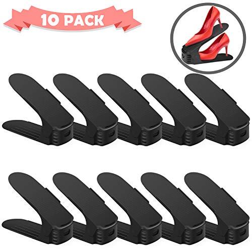 Uktunu Verstellbare Schuhstapler Schuhhalter Schuhschrank Schuhregal Praktisches 10er Sparset (Schwarz)
