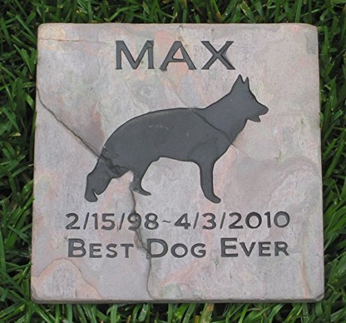 German Shepherd Garden Memorial Gravestone, Tombstone, 6 x 6 Slate, All Breeds Available, Pet Memorial Stone Grave Marker