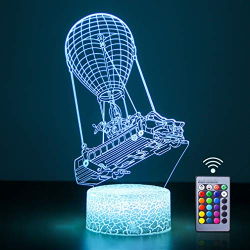 Battle Bus 3D Night Light 16 Colors Changing USB Powered Illusion Lamp, Hot Air Balloon 3D Lamp Home Decor Children's Birthday Gift