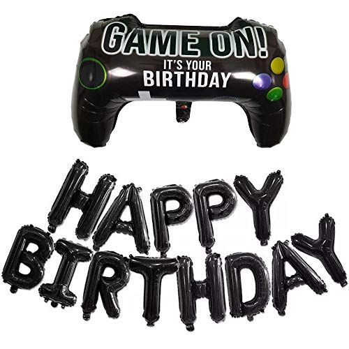 DIWULI, XL Gamepad Luftballon, Happy Birthday Banner Girlande Buchstaben-Ballons schwarz, Gamecontroller Folien-Ballon, Gamer-Ballon Kinder-Geburtstag Junge, LAN-Party, Dekoration, Geschenk-Deko, Set