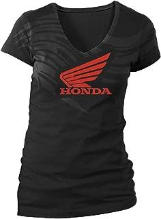 Honda Womens Abstract Wings V-Neck Short-Sleeve T-Shirt/Tee