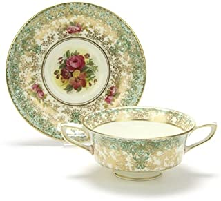C51 by Royal Worcester, China Bouillon Cup & Saucer, Green