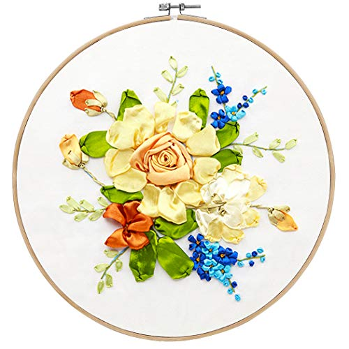 Embroidery Beginner Kit, Outgeek Full Range Embroidery Starter Kit with English Instruction DIY Floral Silk Ribbon Embroidery Beginner Kit Cross Stitch Stamped 3D Embroidery Kit for Art Craft Sewing