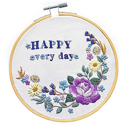 Stickerei-Set, Pflanze, Happy Everyday, Kreuzstich-Set, Stickerei-Starter-Set mit Muster, geprägt, Stickstoff mit Bambus-Reifen, Nadelspitze für Erwachsene (Happy Everyday Embroidery Kits)
