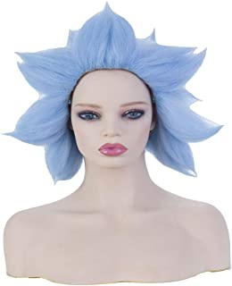 Womens Short Blue Wig Halloween Cosplay Costume Party Spiky Crazy Synthetic Hair Full Wigs