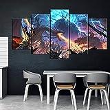 ADGUH 5 Cuadro sobre Lienzo5 Piezas de Pintura Decorativa póster Juego Home Mural Total War: Warhammer II Juego animación Arte decoración de la Pared pintura5 Impresiones sobre Lienzo