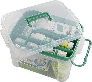 Qsbon Clear Storage Box Container, Family First Aid Box Medicine Box Organizer